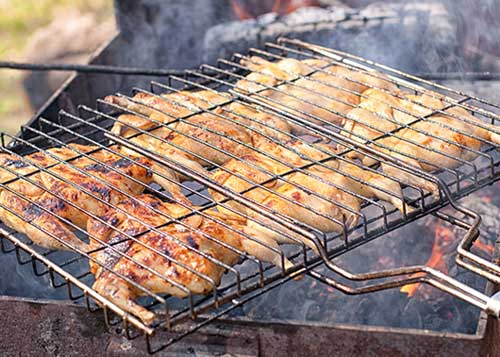 Grilling Quail over Open Fire